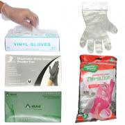 Disposable gloves: nitrile, latex, vinyl